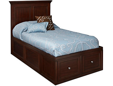 Abbott Cherry Youth Twin Panel Bed with 1 Sided Storage, , large