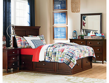Abbott Cherry Youth Twin Pane Bed with 2 Sided Storage, , large