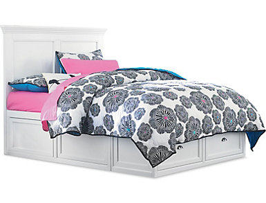 Abbott White Youth Full Panel Bed with 1 Sided Storage, , large