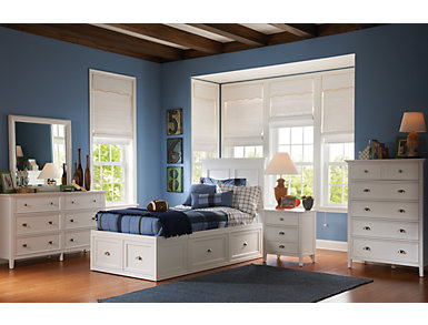 Abbott White Youth Full Panel Bed with 2 Sided Storage, , large