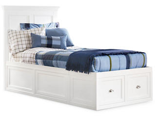 Abbott White Youth Twin Panel Bed with 1 Sided Storage, , large