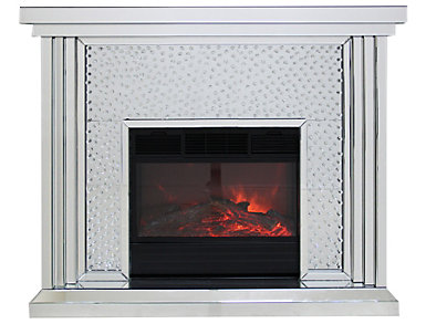 Krystal Mirrored Fireplace, Mirrored, , large
