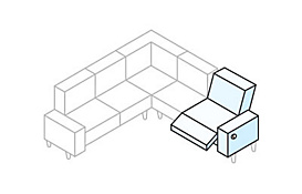 White sectional diagram with the recliner highlighted in blue