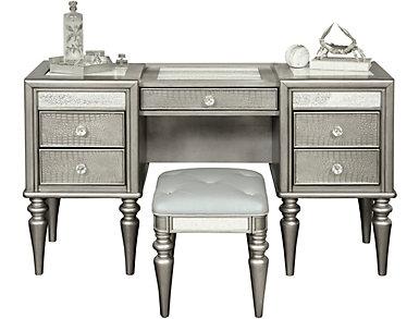 Posh 2 Drawer Vanity and Stool, , large