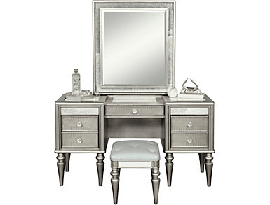 Posh 2 Drawer Vanity and Stool, , large
