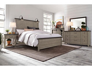 Modern Farmhouse Weathered Grey 9 Drawer Dresser, Grey, large