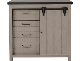 Modern Farmhouse Weathered Grey Sliding Door Chest, Grey, large