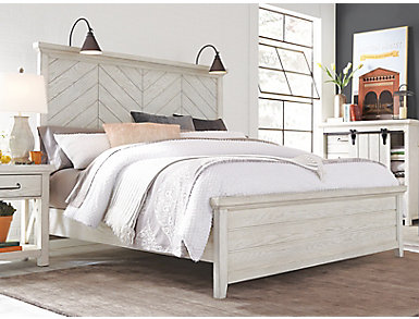 Modern Farmhouse White King Bed, , large