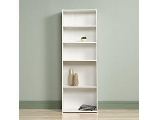 White 5-Shelf Bookcase, , large