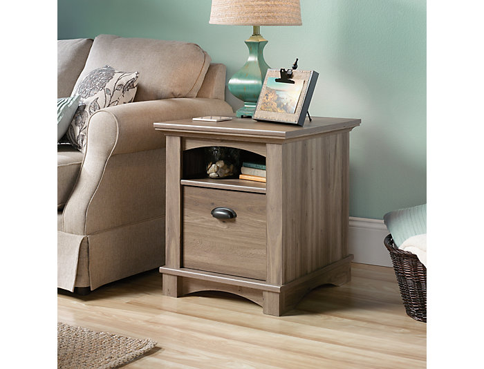 Harbor Oak End Table, Taupe, , large