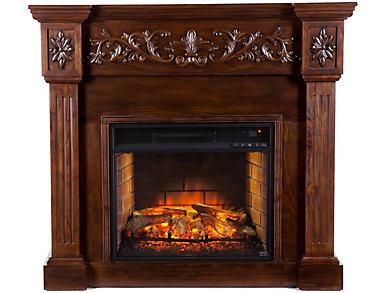 Calvert Espresso Fireplace, Brown, large