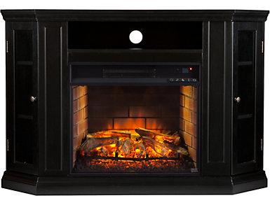 Claremont Black Fireplace, Black, large
