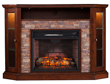 Radden Coffee Corner Fireplace, Brown, large