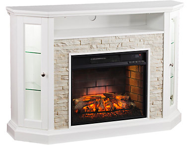 Radden White Corner Fireplace, , large