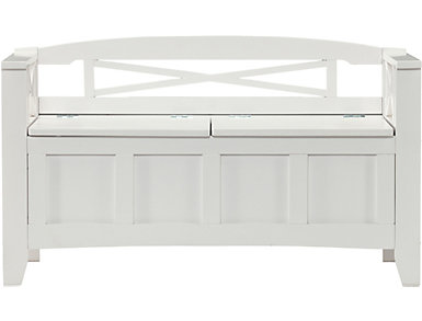 Latona White Storage Bench, , large