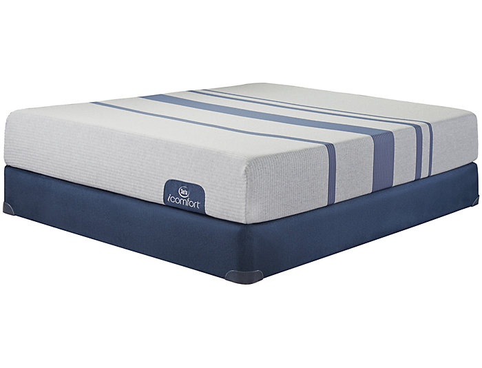 Queen Split Low Profile Blue 100XT Mattress Set, , large