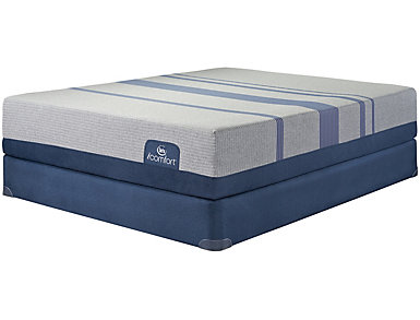 Twin XL Low Profile Blue Max 1000 Cushion Firm Mattress Set, , large