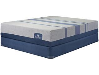 Queen Low Profile Split Blue Max 1000 Plush Mattress Set, , large