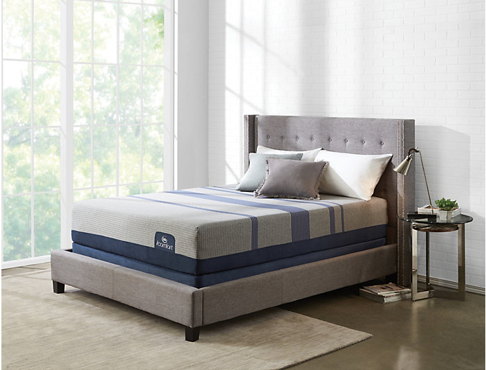 Queen Blue Max 1000 Plush Mattress Set, , large