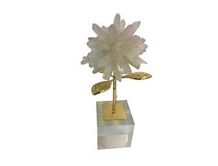 Stone & Metal Flower Deco, , large