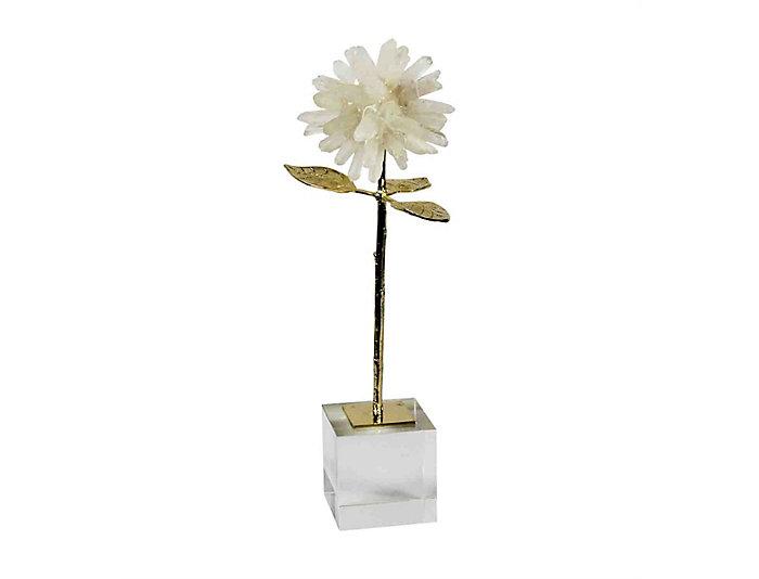 Stone & Metal Flower Deco, , large