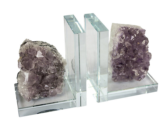 Pr Amethyst on Glass Bookends, , large