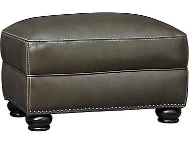 Genuine Leather Bennett Ottoman, Grey, , large