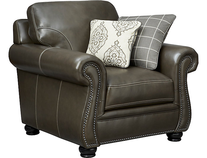 Bennett Leather Chair, Grey, , Large ...