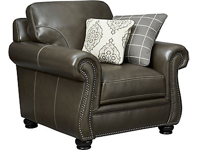 Bennett Leather Chair, Grey, , large