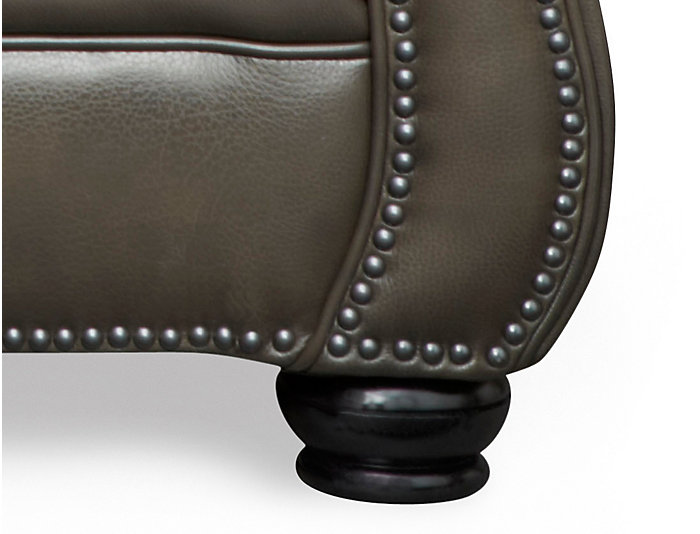 Genuine Leather Bennett Loveseat with Nail-Head Trim, Grey, , large