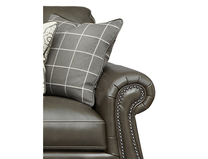 Genuine Leather Bennett Sofa with Nail-Head Trim, Grey, , large