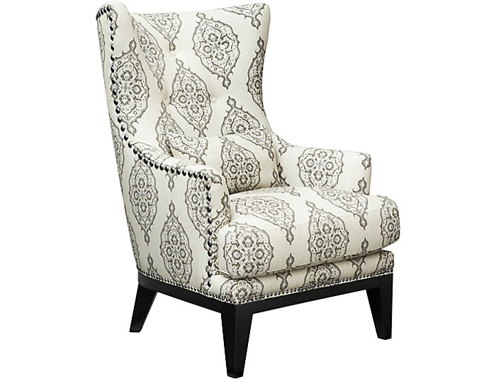 Bennett Wing Back Accent Chair, Grey, , Large ...