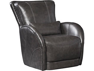 Genuine Leather Colton Swivel Glider Chair, Brown, , large