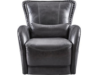 Colton Swivel Glider Leather Chair, , large
