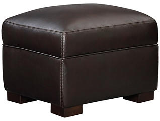 Leather Theory Ottoman, Brown, , large