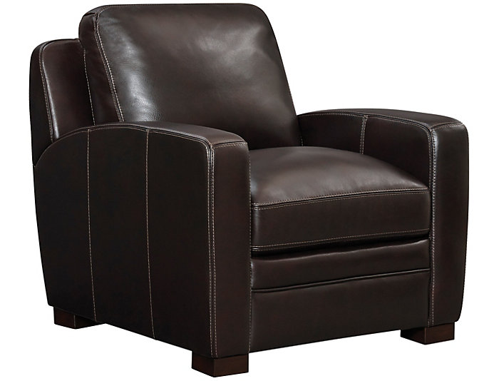 Attirant Theory Genuine Leather Chair, Brown, , Large ...