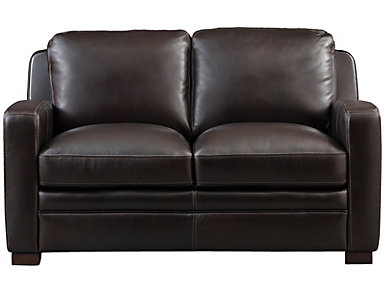 Genuine Leather Theory Loveseat, Brown, , large