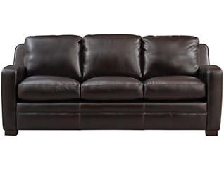 Genuine Leather Theory Sofa, Brown, , large