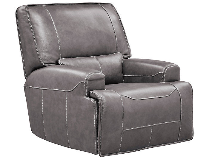 Dylan Grey Power Glide Leather Recliner, Grey, large