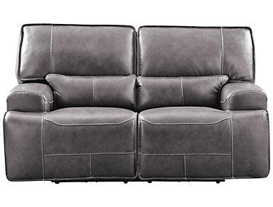 Dylan Leather Power Loveseat, Grey, , large