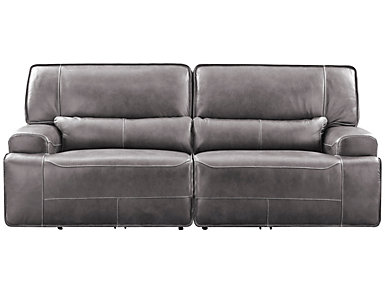 Dylan Power Leather Sofa, Grey, large