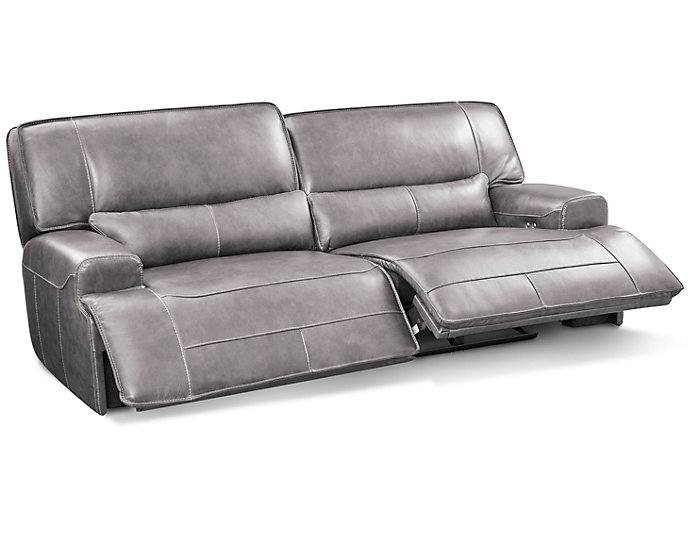 Dylan Grey Power Reclining Leather Sofa