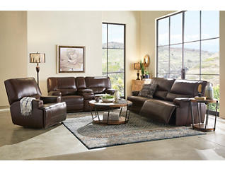 Dylan Brown Power Console Leather Reclining Loveseat, Brown, large