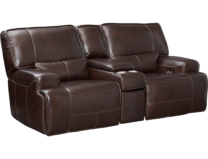 Terrific Dylan Brown Power Console Leather Reclining Loveseat Ncnpc Chair Design For Home Ncnpcorg