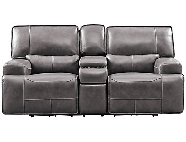 Dylan Power Console Leather Loveseat with USB, Grey, , large