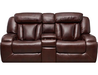 Max Dual Power Console Loveseat, Burgundy, , large