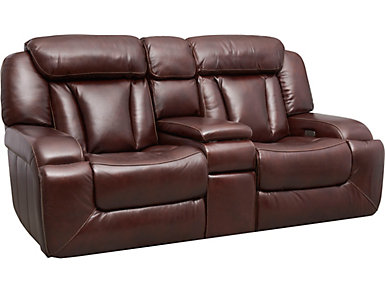 Max Dual Power Reclining Leather Console Loveseat, , large