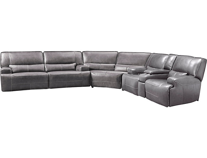 Dylan Grey 3 Piece Power Leather Sectional With Console