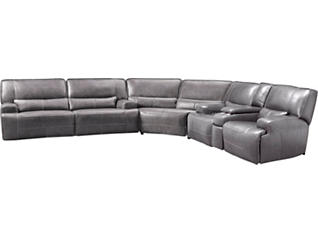 Peachy Dylan Grey 3 Piece Power Leather Sectional With Console Beatyapartments Chair Design Images Beatyapartmentscom