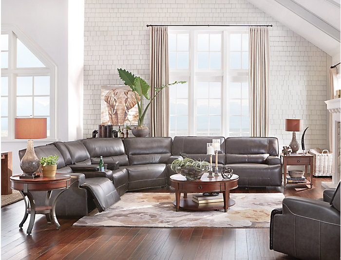 Art Van Furniture Living Room Sets: Dylan 3 Piece Power Sectional With Console Loveseat, Grey